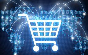 ícone de ecommerce carrinho de compras ao redor do globo