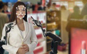 robo e inteligencia artificial ajudam cliente na loja