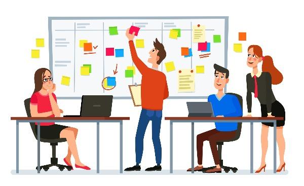 imagem ilustrativa de equipe tarbalhando com agile scrum