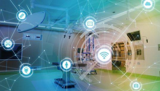 ambiente de hospital com icones de tecnologia e comunicaçao
