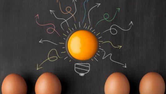 conceito de inovação com alimento ovo