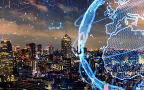 paisagem de cidade com redes de conexao