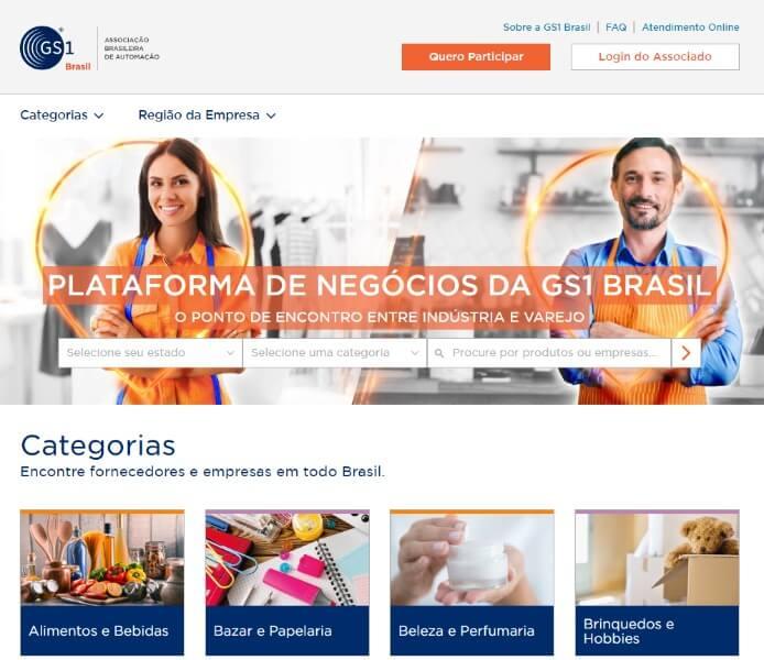 home da plataforma de negocios gs1 brasil