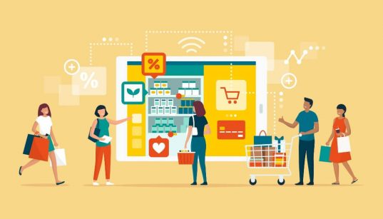 ilustracao conceito de consumidor fazendo compras