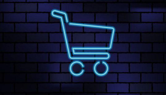 conceito de compras online com detalhe neon