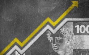 quadro com indicador de crescimento dinheiro do brasil real