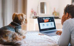 consumidora com cachorro comprando pela internet black friday
