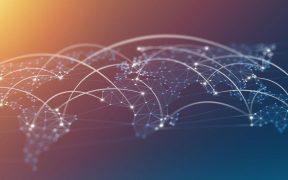 mapa mundi com icones de conectividade