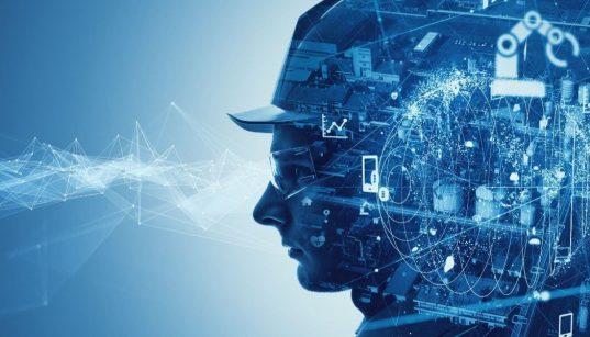 trabalhardor e vista da industria com efeito e icones de tecnologia