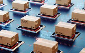 ilustração com conceito de logistica automatizada