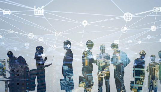 grupo de trabalhadores conceito de negocios conectados