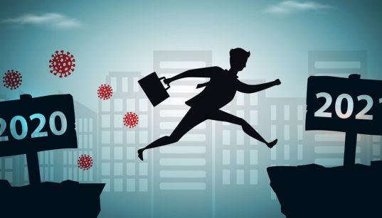 ilustração executivo pulando de 2020 para 2021contexto da pandemia